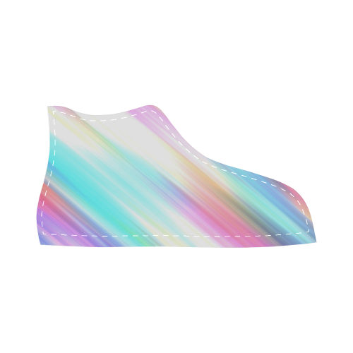 Rainbow Stripe Abstract High Top Canvas Kid's Shoes (Model 002)