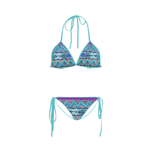 Purple Feather Design Custom Bikini Swimsuit