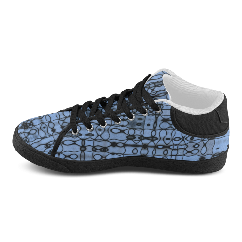 Black Abstract Lines on Cornflower Blue Women's Chukka Canvas Shoes (Model 003)