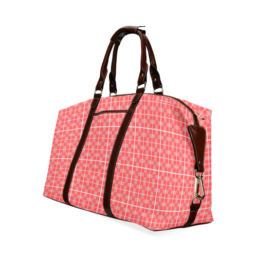 Red pink and white squared pattern Classic Travel Bag (Model 1643)
