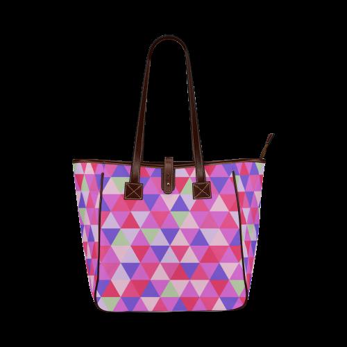 Geometric Pink Triangle Pattern Classic Tote Bag (Model 1644)