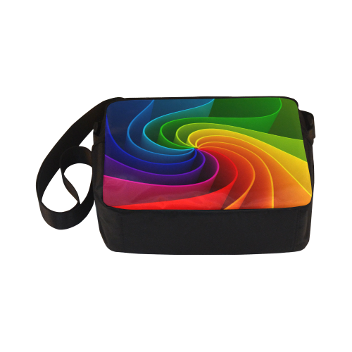 Abstract Wavy Rainbow Lines Classic Cross-body Nylon Bags (Model 1632)