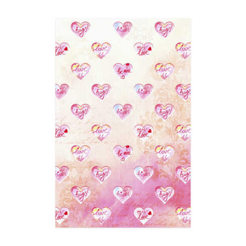 "Vintage Pink Hearts with Love Words Poster 22""x34"""
