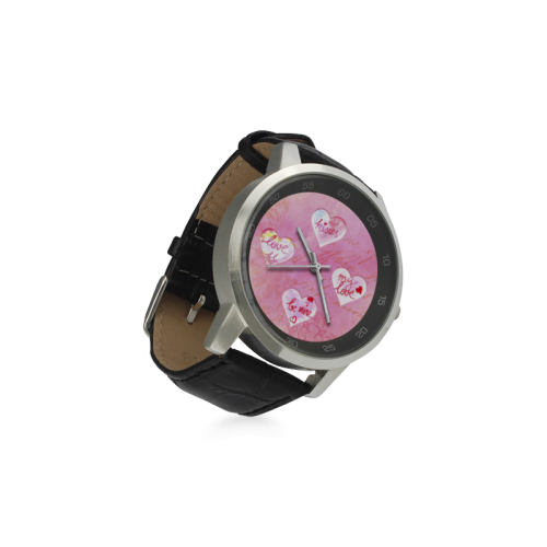 Vintage Pink Hearts with Love Words Unisex Stainless Steel Leather Strap Watch(Model 202)