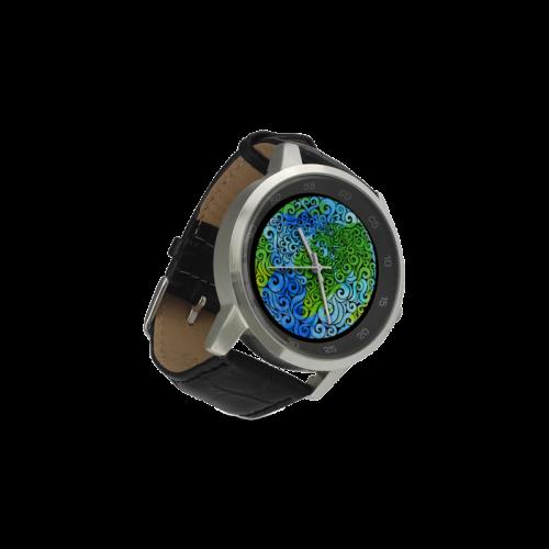 Swirly Earth Unisex Stainless Steel Leather Strap Watch(Model 202)