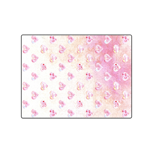 """Vintage Pink Hearts with Love Words Blanket 50""""x60"""""""