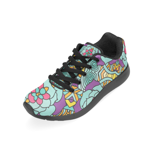 Mariager-bold flowers,blue,purple,yellow floral Women's Running Shoes (Model 020)