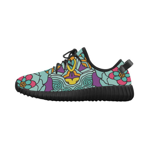 Mariager-bold flowers,blue,purple,yellow floral Grus Women's Breathable Woven Running Shoes (Model 022)