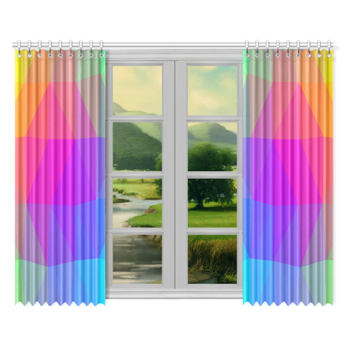 "Triangle Rainbow Abstract Window Curtain 52""x84""(Two Pieces)"