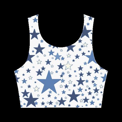 Blue Stars Women's Crop Top (Model T42)