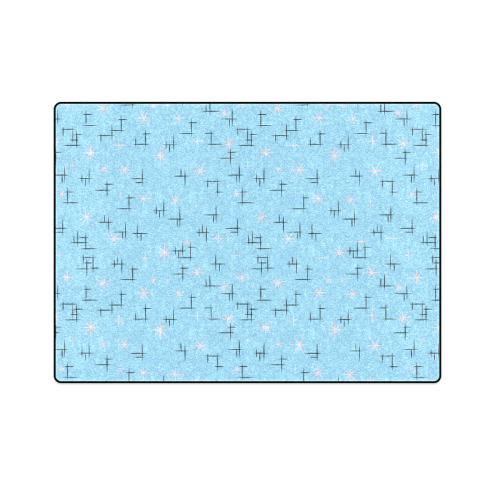 "Abstract Lines Pink Stars on Baby Blue Retro Blanket 58""x80"""