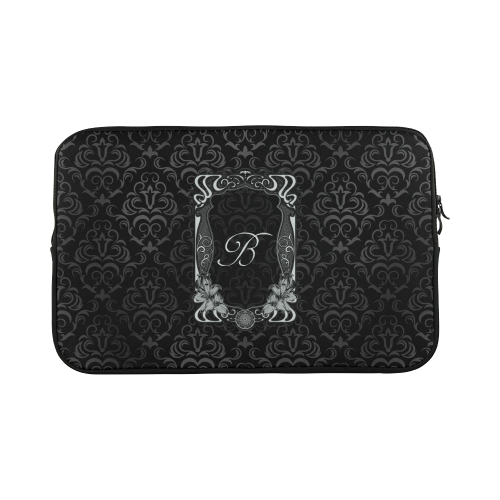 Black Grey Damasks Frame Monogram Initial Macbook Pro 17''