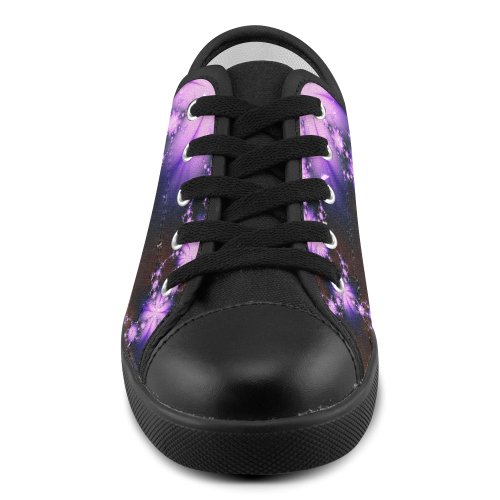 Lavender Sparks Floral Canvas Kid's Shoes (Model 016)