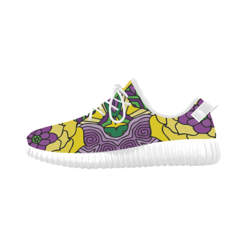 Mariager, Mardi Gras yellow purple green Grus Women's Breathable Woven Running Shoes (Model 022)