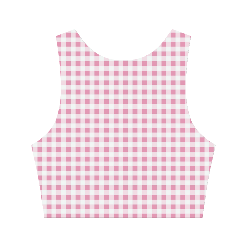 Petal Pink Gingham Women's Crop Top (Model T42)