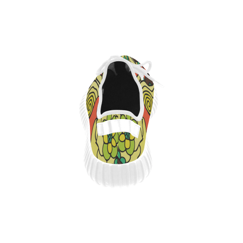 Mariger, Retro Yellow orange and green rose Grus Women's Breathable Woven Running Shoes (Model 022)