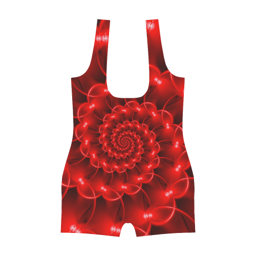 Glossy Red Spiral Fractal Classic One Piece Swimwear (Model S03)