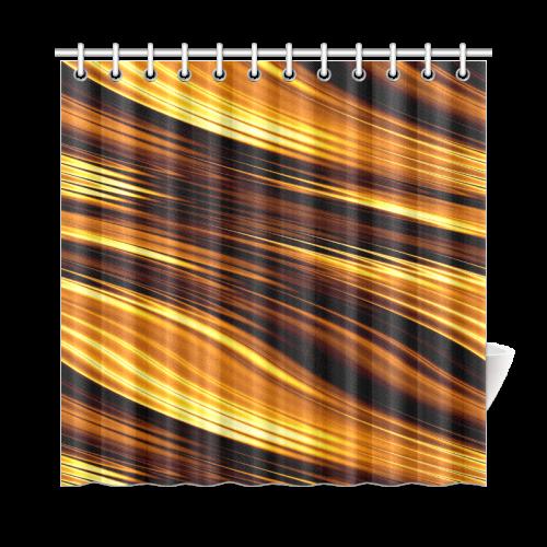Gold Bronze Copper Wave Shower Curtain