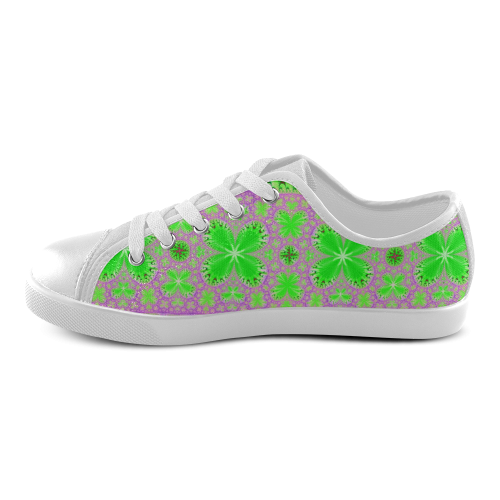 Purple and Green Butterflies Canvas Kid's Shoes (Model 016)
