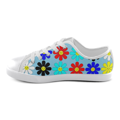 Cute Smiley Flowers Canvas Kid's Shoes (Model 016)