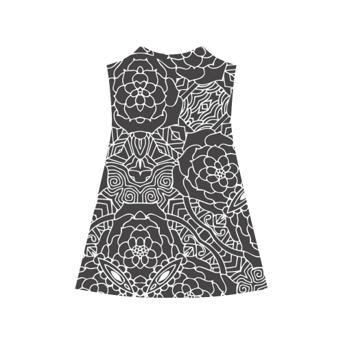 Mariager-Black & White- rose flowers Alcestis Slip Dress (Model D05)