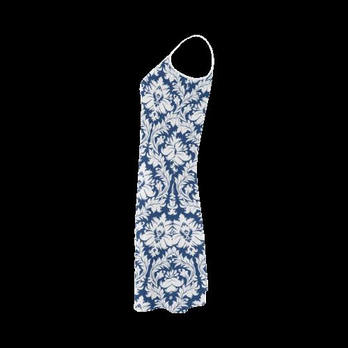damask pattern navy blue and white Alcestis Slip Dress (Model D05)