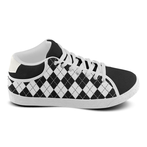 Stylish Black and White Argyle Women's Chukka Canvas Shoes (Model 003)