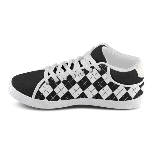 Black and White Argyle Men's Chukka Canvas Shoes (Model 003)