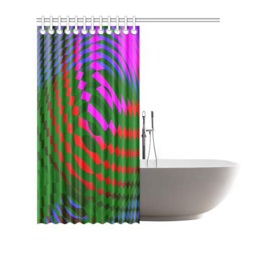 "Orbed Cubes Abstract Shower Curtain 72""x72"""