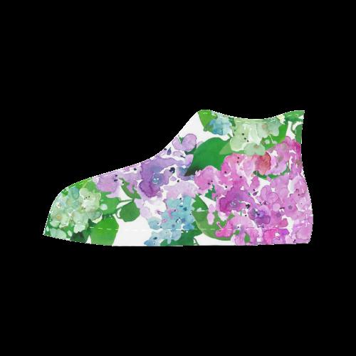 Watercolor Hydrangea Aquila High Top Microfiber Leather Women's Shoes (Model 027)