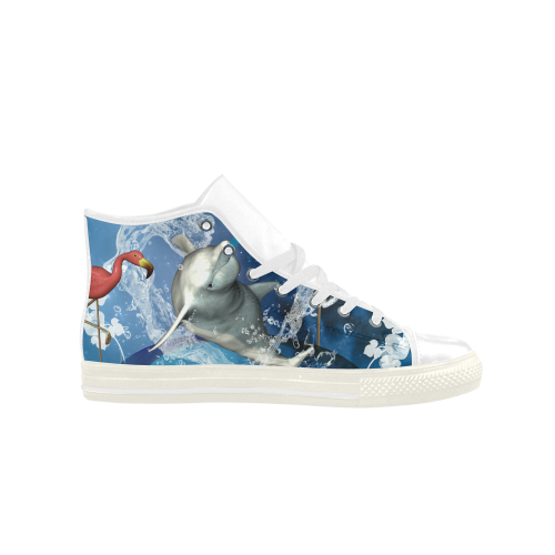 Funny dolphin Aquila High Top Microfiber Leather Women's Shoes (Model 027)