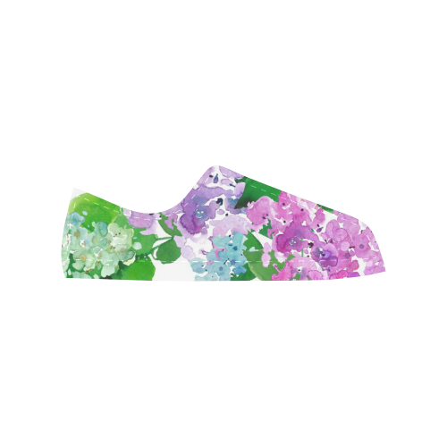 Watercolor Hydrangea Aquila Microfiber Leather Women's Shoes (Model 028)