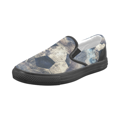 Abstract Blue Grunge Soccer Men's Slip-on Canvas Shoes (Model 019)