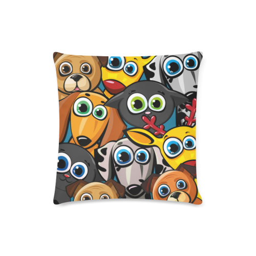 "Group of funny animals - cats, dogs and deer Custom Zippered Pillow Case 16""x16"" (one side)"