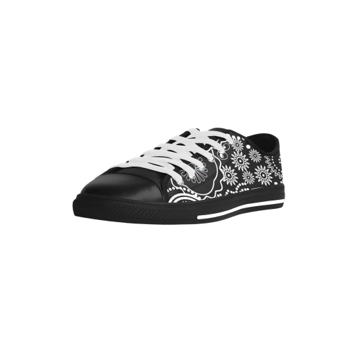 black and white Aquila Microfiber Leather Women's Shoes (Model 028)