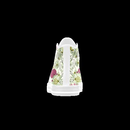 doodle flowers Aquila High Top Microfiber Leather Women's Shoes (Model 027)