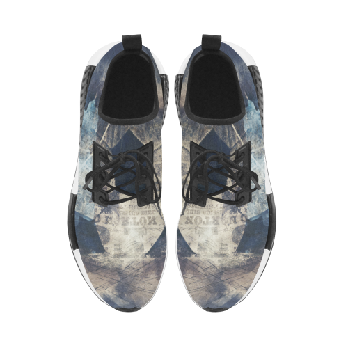 Abstract Blue Grunge Soccer Men's Draco Running Shoes (Model 025)