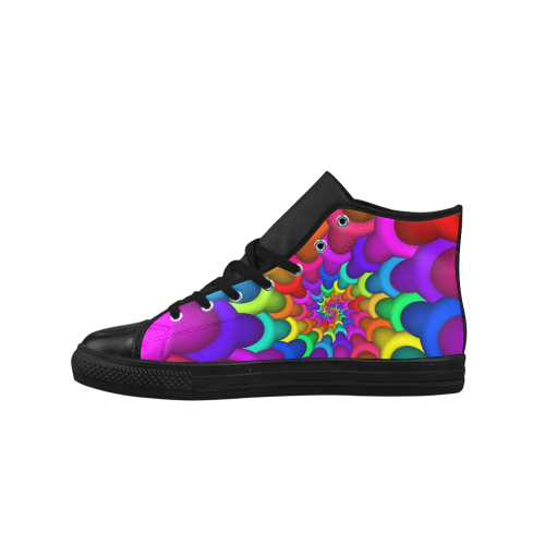 Psychedelic Rainbow Spiral Aquila High Top Microfiber Leather Men's Shoes (Model 027)