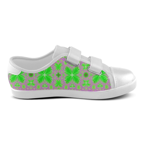 Green Butterflies on Purple Velcro Canvas Kid's Shoes (Model 008)