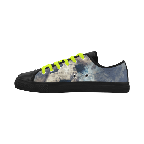 Abstract Blue Grunge Soccer Aquila Microfiber Leather Men's Shoes (Model 028)