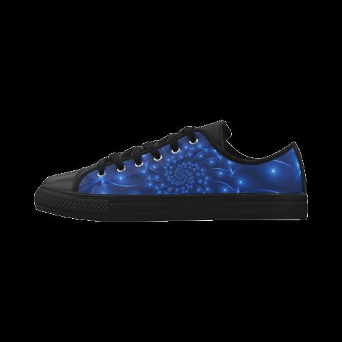 Digital Art Glossy Blue Spiral Fractal Aquila Microfiber Leather Men's Shoes (Model 028)