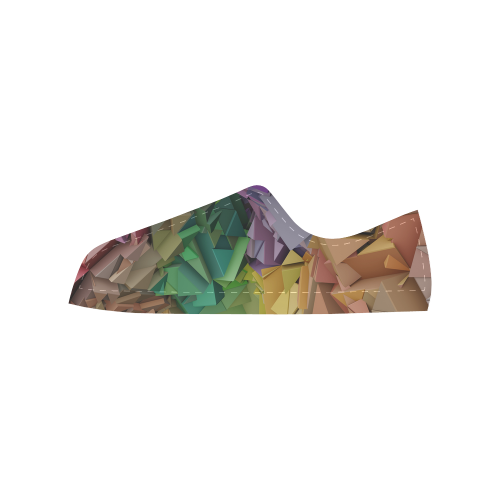 Colorful 3D Geometric Low Poly Blocks Aquila Microfiber Leather Women's Shoes (Model 028)
