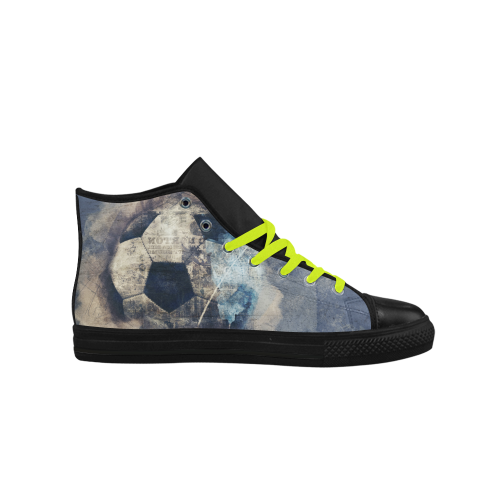 Abstract Blue Grunge Soccer Aquila High Top Microfiber Leather Women's Shoes (Model 027)
