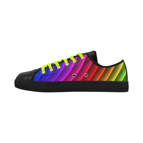 Glossy Rainbow Stripes Aquila Microfiber Leather Women's Shoes (Model 028)