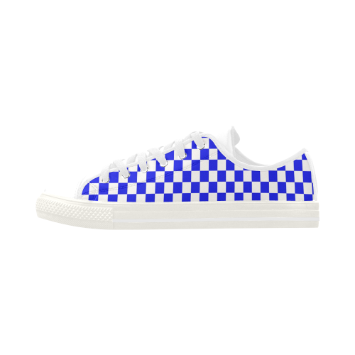 Bright Blue Gingham Aquila Microfiber Leather Women's Shoes (Model 028)