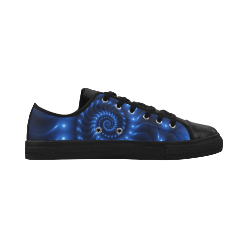 Digital Art Glossy Blue Spiral Fractal Aquila Microfiber Leather Men's Shoes (Model 028)