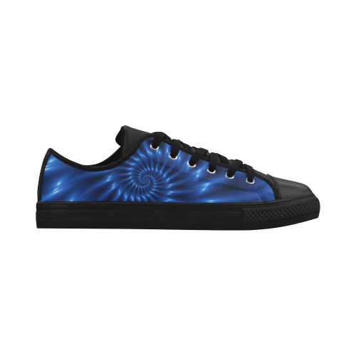 Digital Art Glossy Blue Spiral Fractal Aquila Microfiber Leather Women's Shoes (Model 028)