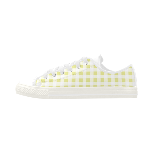 Pale Yellow Gingham Aquila Microfiber Leather Women's Shoes (Model 028)