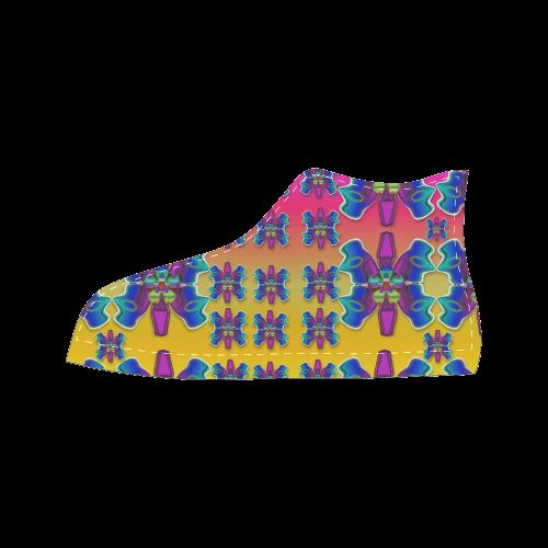 Power Flower Butterflys into paradise Men's Classic High Top Canvas Shoes (Model 017)