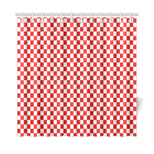 Bright Red Gingham Shower Curtain 72x72
